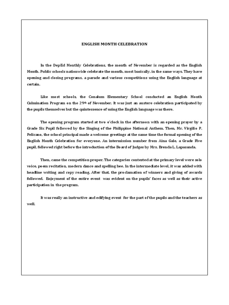English Month Narrative Report