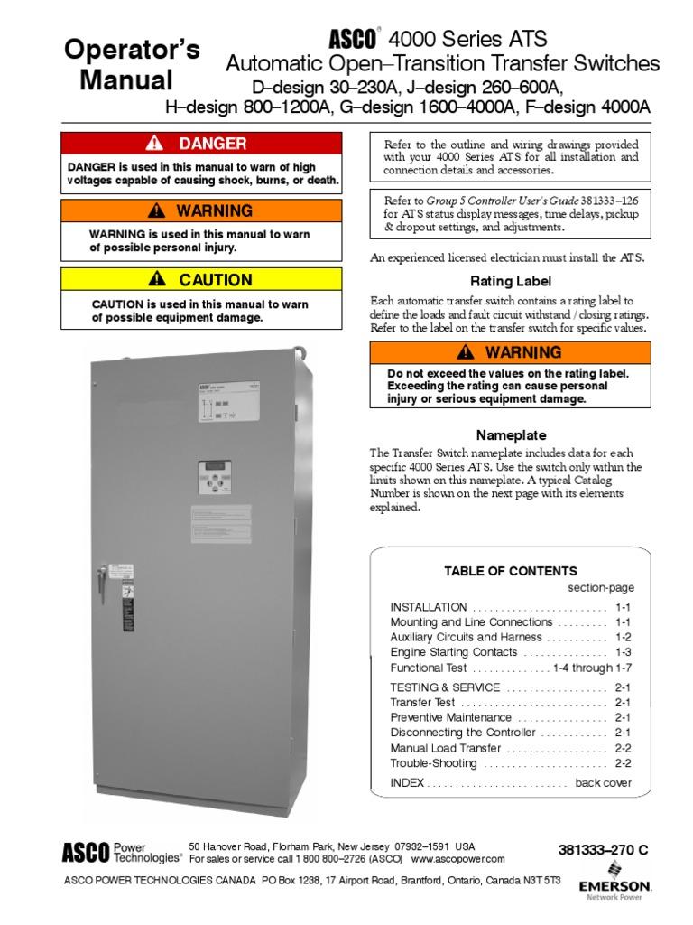 asco-4000-manual-transfer-switch.pdf | Switch | Electrical ... on
