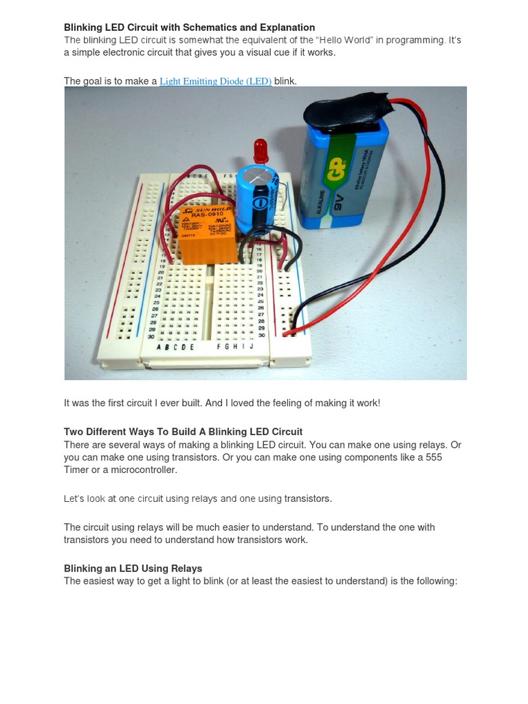 Blinking Led Circuit With Schematics And Explanation Relay Diagram Using Transistor Computer Engineering
