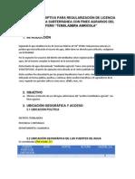 Memoria Descriptiva Para Regularización de Licencia de Uso de Agua Subterránea Con Fines Agrarios Del Acuiferro