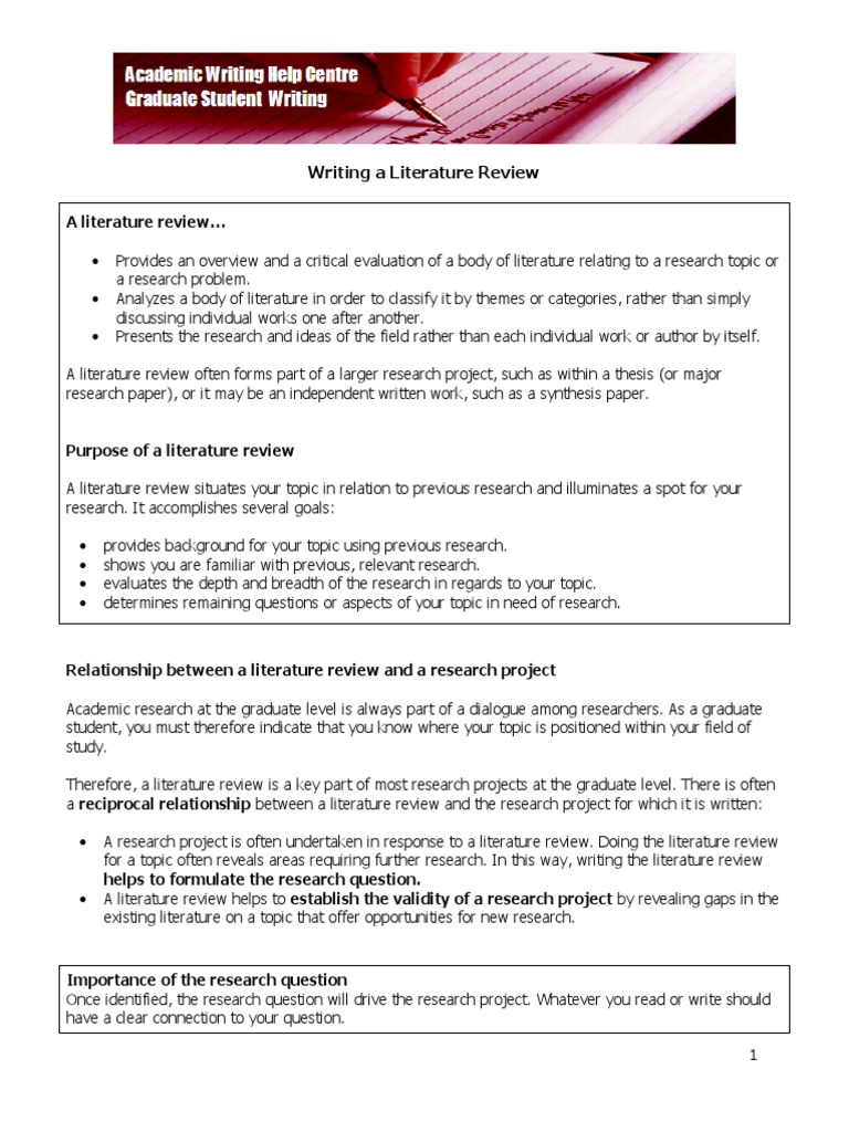 Grad Literature Review Literature Review Argument