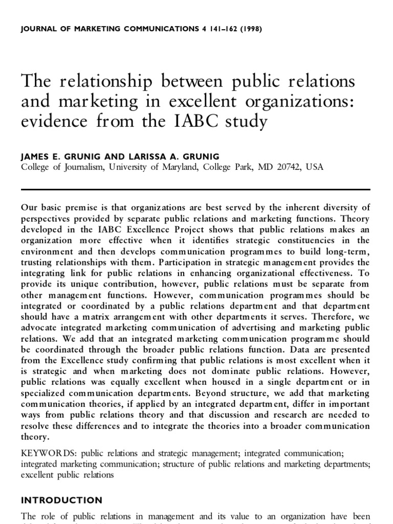 The relationship between public relations and marketing in excellent the relationship between public relations and marketing in excellent organizations evidence from the iabc study public relations strategic management fandeluxe Choice Image
