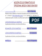 Cartel Plazos admisión a FP básica 2014/15