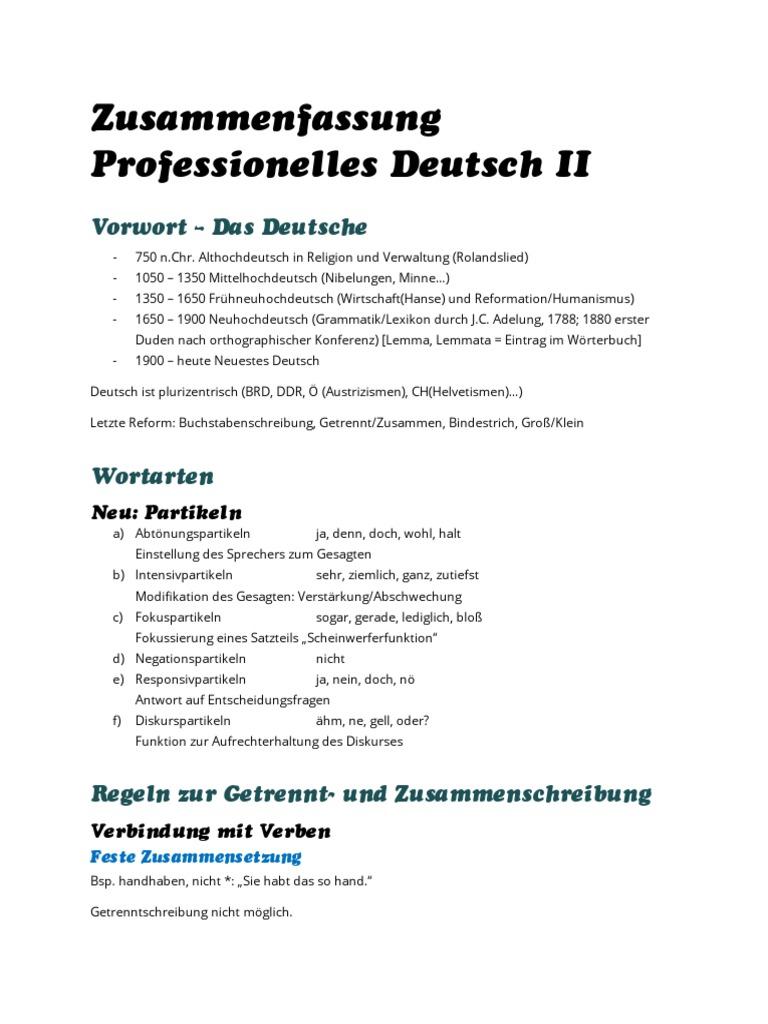 Zusammenfassung Professionelles Deutsch Iipdf