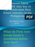 Questions Asked Before Buy in a Subdivision Real Estate Industry in the PhilippinesJuly 2014