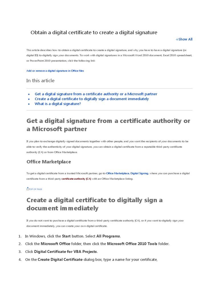 Obtain A Digital Certificate To Create A Digital Signature Public
