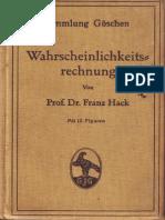 Franz Hack - Wahrscheinlichkeits Rechnung 1914