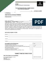 Formato Solicitud Preinscripción a Primer Grado 2009-2010