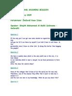 Questionslist Q&A 12/01/2009
