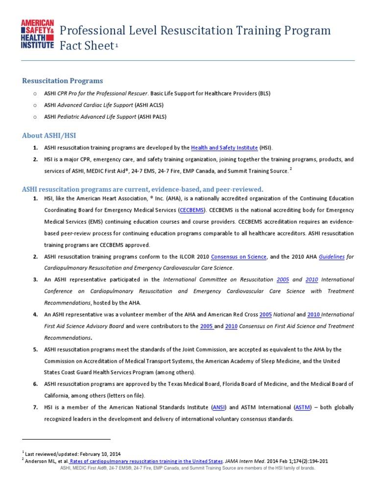Ashi pro level resuscitation training program 2014 fact sheet ashi pro level resuscitation training program 2014 fact sheet cardiopulmonary resuscitation clinical medicine xflitez Image collections