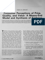 Consumer Perception of Price Quality and Value a Mean End Model and Synthesis of Evidence Valarie a Zeithaml Journal of Marketin Vol 52 July 1988