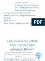early experience with the ohio practice based research acpm 2011 1