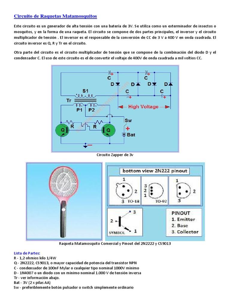 Circuito Zapper : Circuitos varios de alta tension matamosquitos inversor