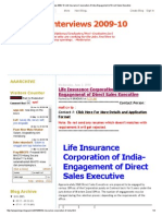 Walk-In-Inter1views 2009-10_ Life Insurance Corporation of India-Engagement of Direct Sales Executive