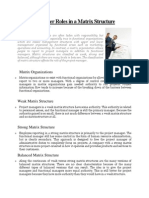 Project Manager Roles in a Matrix Structure