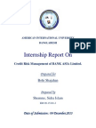 Internship Report on Credit Risk Management of Bank Asia Limited