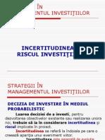 Managementul Investitiilor - Incertitudinea Si Riscul