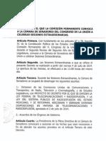 Decreto para convocar Periodo Extraordinario del Senado de la República