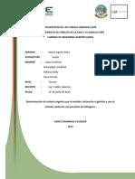 Determinación de Materia Orgánica Por El Método Calcinación o Ignición y Por El Método Oxidación Con Peróxido de Hidrogeno.