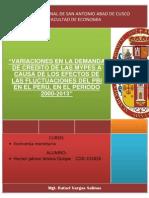 Variaciones en La Demanda de Credito de Las Mypes a Causa de Los Efectos de Las Fluctuaciones Del Pbi en El Peru, En El Periodo 2000-2013