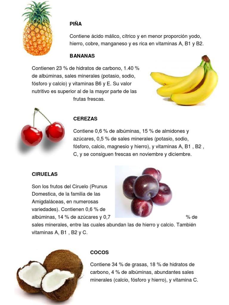 frutas que contienen potasio y sodio