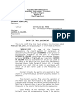 Civil Case No. 7942 Vencilao vs. Palma - Entry of Judgment