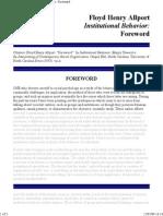 ALLPORT, Floyd Henry - Institutional Behavior - Foreward