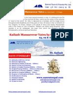Mt. Kailash Mansarovar Yatra by Overland 3,9 & 16 Sept