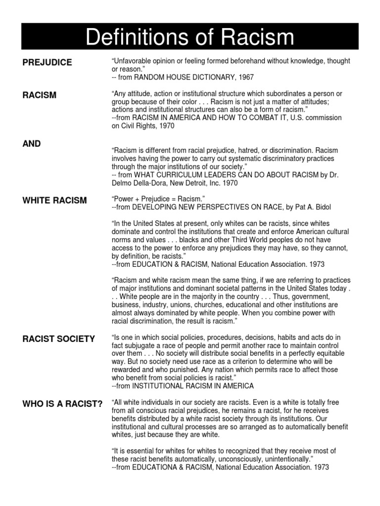 definitions of racism | ethnicity, race & gender | racism