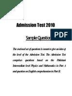 University of Lahore UOL Entry Test Sample Paper