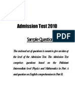 UAF Entry Test Sample Paper 2015 | Physical Sciences | Science