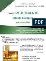 Achiziţii recente. Ştiinţe filologice, perioada  mai – iunie 2014