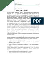 Actualización de Méritos de Interinos de Secundaria. Listas Definitiva de Admitidos y Excluidos