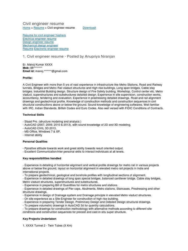 Civil Engineer Resume Tunnel Engineer