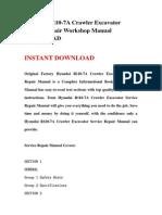 Hyundai R110-7A Crawler Excavator Service Repair Workshop Manual DOWNLOAD