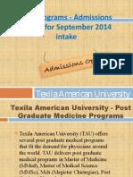 PG Programs - Admissions Open for September 2014 intake