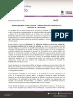 75 Bogotá Referente a Nivel Nacional e Internacional en Trabajo Por Los Derechos de Las Mujeres