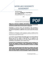 Paintball Waiver and Release of Indemnity Agreement