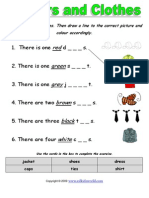 Colours and Clothes Gap Fill Worksheet