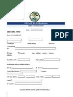 Digital Complaints Form (Ombudsman OFfice)