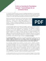 Desarrollo de La Conciencia Fonológica Del Lenguaje Y Aprendizaje de La Lectoescritura