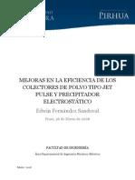 Mejoras en La Eficiencia de Los Colectores de Polvo Tipo Jet Pulse y Precipitador Electrostático