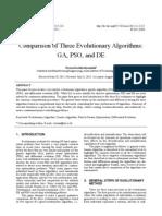 Comparison of Three Evolutionary Algorithms. GA, PSO and De
