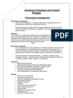 Unit 5 - Performace Evaluation and Control Process
