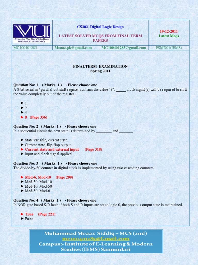 Cs302 Finalterm Solved Mcq By Moaaz Computing Technology Electronic Circuit Design Mcqs