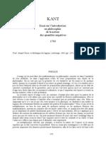 KANT, Essai pour introduire en philosophie le concept de grandeur négative