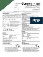 Canon F-502 _ Instruction Manual
