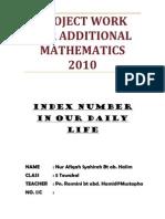 Sample Additional Mathematics Project Work