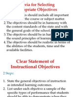 Criteria for Selecting Appropriate Objectives