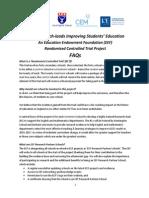 FAQ Huntington-EEF Research RCT Project July 2014 v1